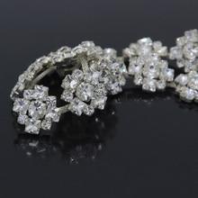 10Yards Flowers Rhinestone Trim Crystal Belt Applique Patches Wedding Trimming For Bridal Dress