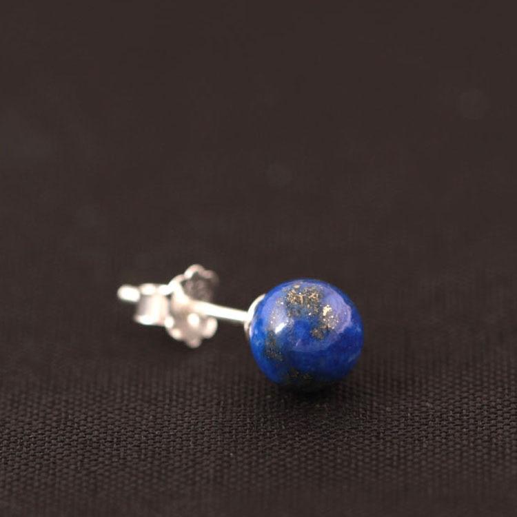 925 Sterling Silver Lapis Lazuli Pärlor Stud Örhängen För Kvinnor - Märkessmycken - Foto 3