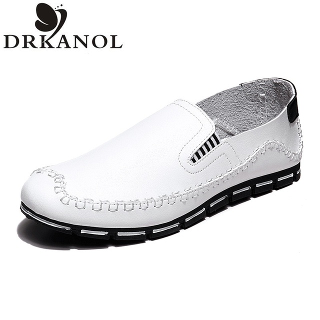 NEW 2016 Spring Men Flats Shoes Fashion Leather black / white / blue / yellow Light and Handy Walking Shoes Men Casual Flats