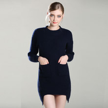 цена 2017 New 100% Pure Cashmere TOP quality Knitted thick O Neck Pullovers Long pocket thick dress sweaters for women lady's  онлайн в 2017 году