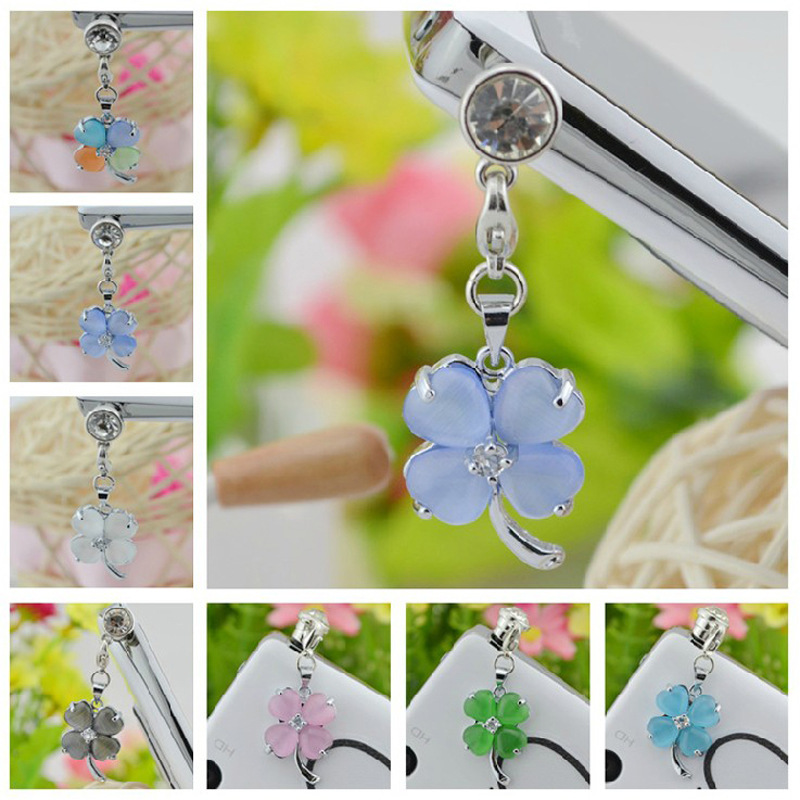 Lucky Clover Shape Opal Pendant Dust Plug Cell Phone Accessories For