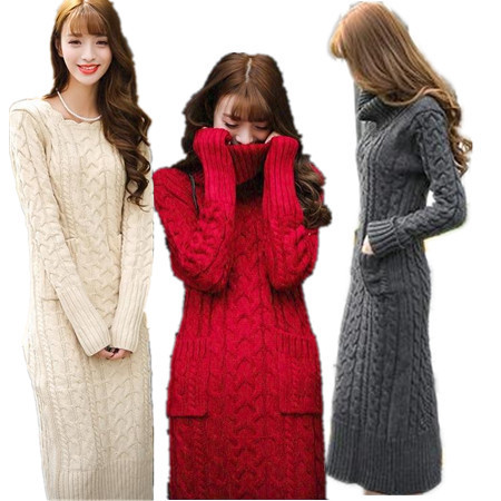2015 Newest Winter Autumn Vestidos Casual Sweater Women Dress Long Sleeve Solid Knitted Outerwear Warm Sexy