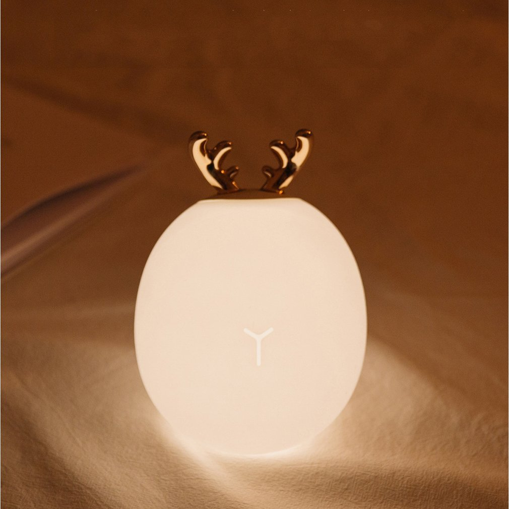 Cartoon Cute Deer Bunny Silicone LED Night Light USB Charging Touch Sensor Light Pats Atmosphere Table Lamp Drop Shipping Sale