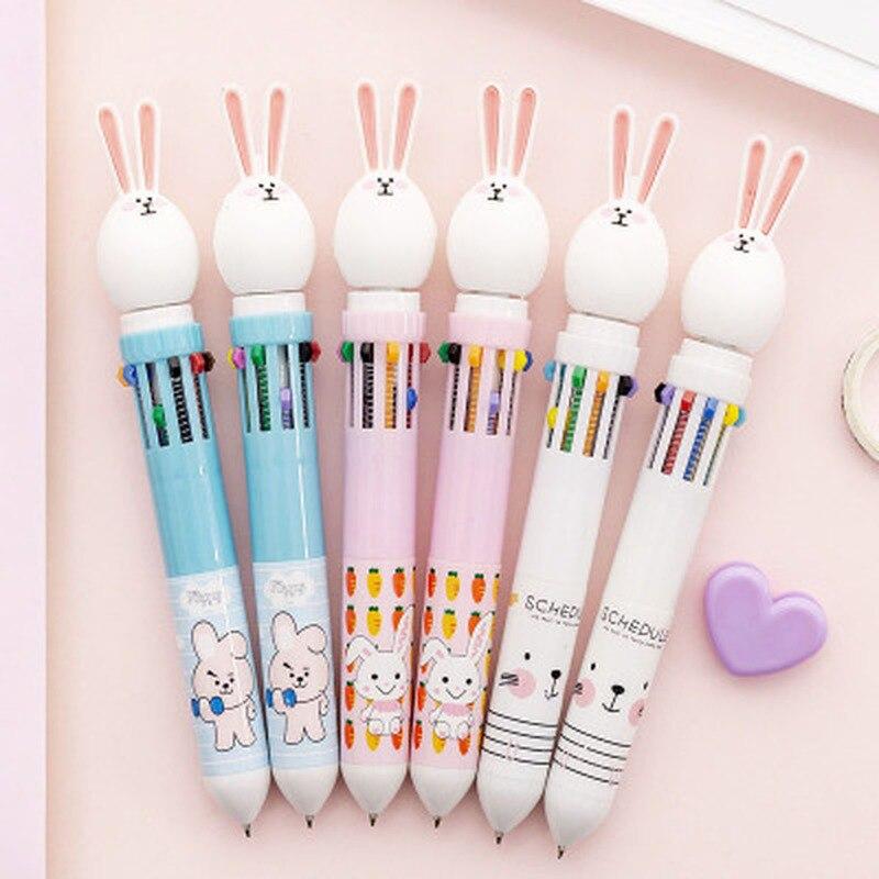 Rabbit Stationery 10 Color Pen Cartoon Kawaii Pens Novelty Gel Pens Student Rabbit Cute Pen Stationery Kawaii School Supplies
