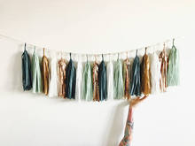 7ft of 25 tassels Sage Green, Rose Gold and Copper Tassel Garland - Eucalyptus Baby Shower Decorations, Teal Wedding Decor
