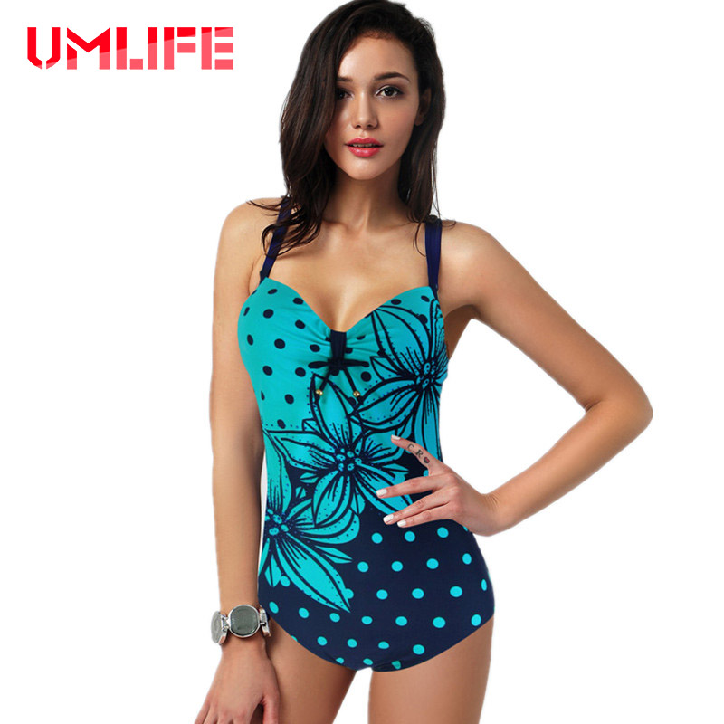UMLIFE Women Swimwear Sexy Plus Size One Piece Swimsuit Push Up Monokini Bathing Suit 2017 Women New Swimming Suit Beachwear swimming suit women push up swimsuit one piece monokini swimwear big flower print costumes vintage stripe beachwear plus size