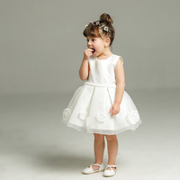 BBWOWLN 0 8 years White Sleeveless Dress for Baptism Baby Girl Lace Christening Gown Dress Toddler First Birthday Party 8023