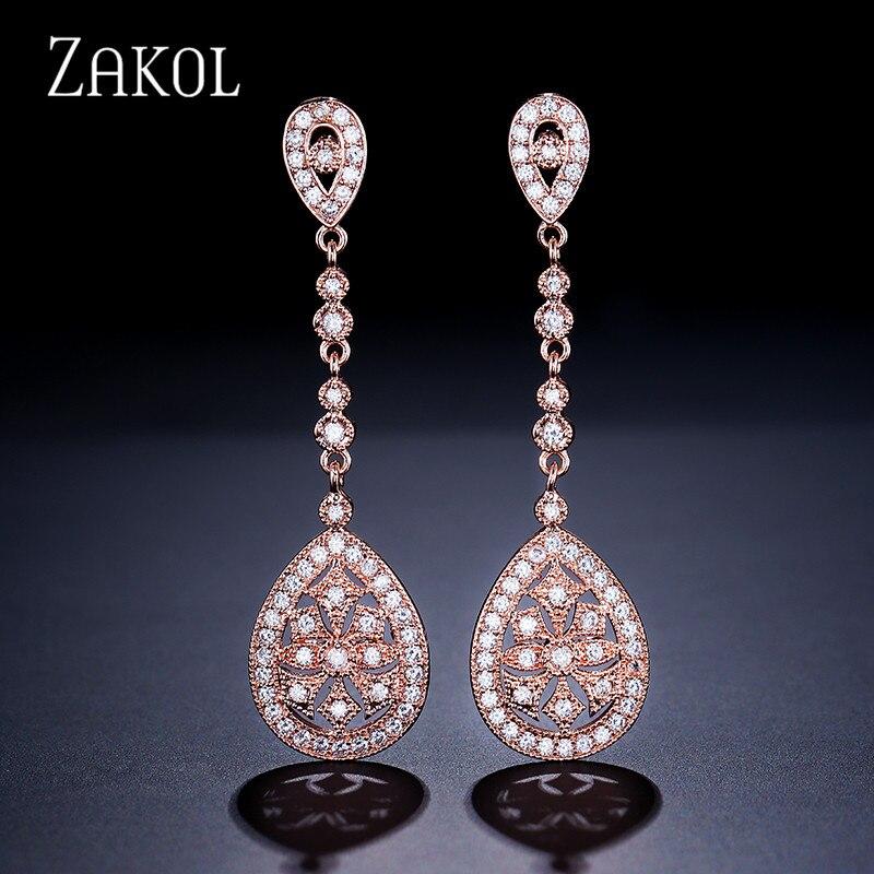 ZAKOL Vintage Rose Gold Color Drop Earrings Cubic Zircon Women Wedding Jewelry For Bride FSEP607