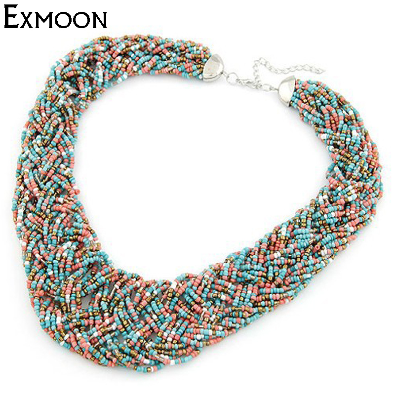 EX-MOON Women 6 Colors Bohemia Necklace Female Fashion Beads Statement Necklace Ladies Choker Necklaces Jewelry Accessaries N037