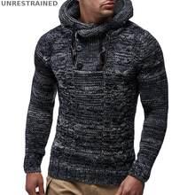 2018 otoño nuevos hombres de manga larga gruesa de lana gruesa con capucha  Casual pulóver suéteres botón cuello alto sólido moda. 8746118d0da