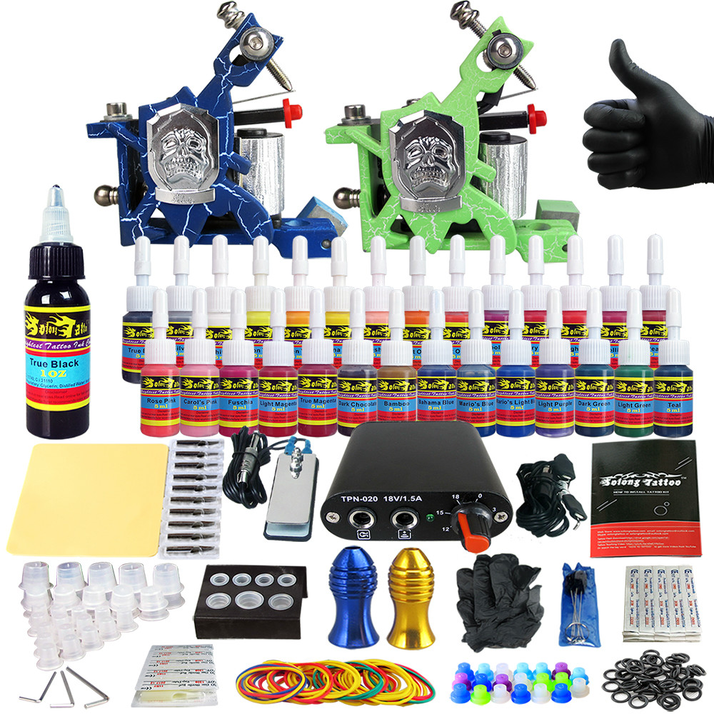 Tattoo Sets Machine for Liner Shader Clip Cord 2 Guns New Arrival Kit Light Weight Practice Skin 28 Color Ink Sigment TK204-14Tattoo Sets Machine for Liner Shader Clip Cord 2 Guns New Arrival Kit Light Weight Practice Skin 28 Color Ink Sigment TK204-14