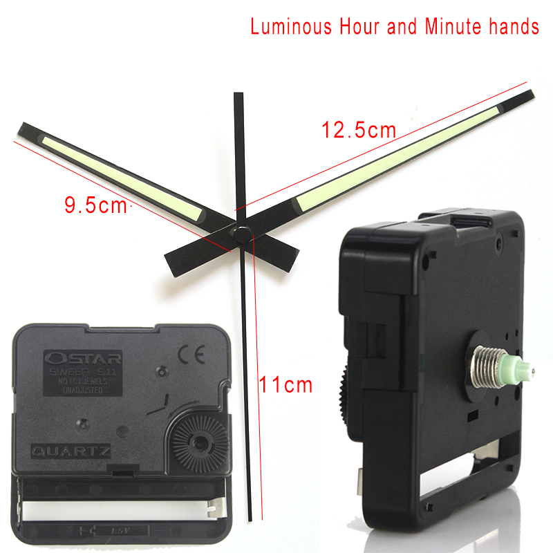 Ostar S11 Sweep Clock Movement Quartz Wall Clock Mechanism Centre Screw Type Movement With 26# Luminous Hands DIY Clock Kits