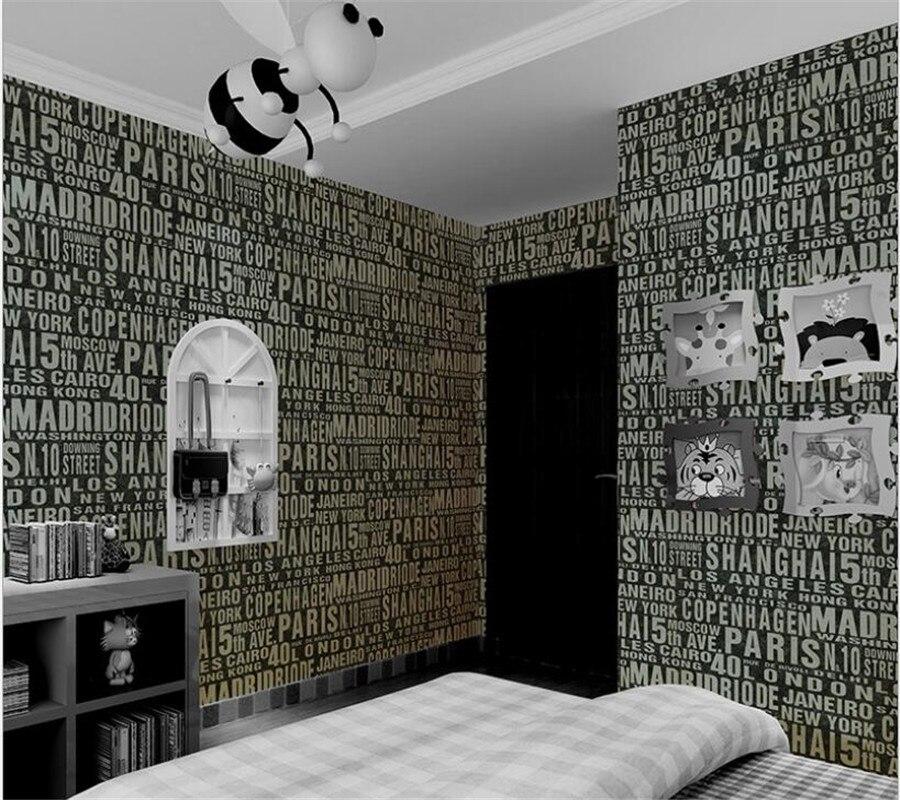 Beibehang moderne décoration de la maison anglais lettres papier peint salon TV toile de fond enfants chambre papier peint papier peint