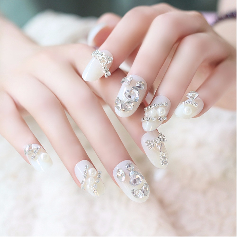 24pcs/Set Pretty Wedding Bride Nail Art Tips Full Diamond Round Head ...