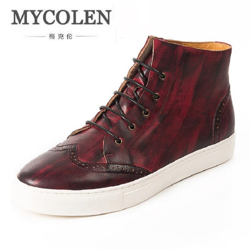 MYCOLEN New High Top Men Shoes Flats Lace up Casual Shoes Male Leather Shoes Plimsolls Espadrilles Footwear Zapatillas Hombre 2018 new fashion high top canvas shoes men stitching leather men s casual shoes lace up flats comfortable soft footwear