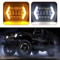 7x6 5D LED Headlight Halo DRL For 86 95 Jeep Wrangler YJ 84 01 Cherokee XJ