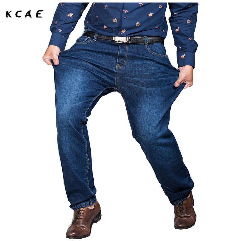 Men's Jeans Men's Autumn and Winter  plus Fat plus cashmere thick Stretch Elastic size Slim Straight long Pants male Warm pant
