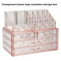 Transparent drawer type cosmetics storage box multi layer desktop dressing table jewelry skin care desks sundries organizer box