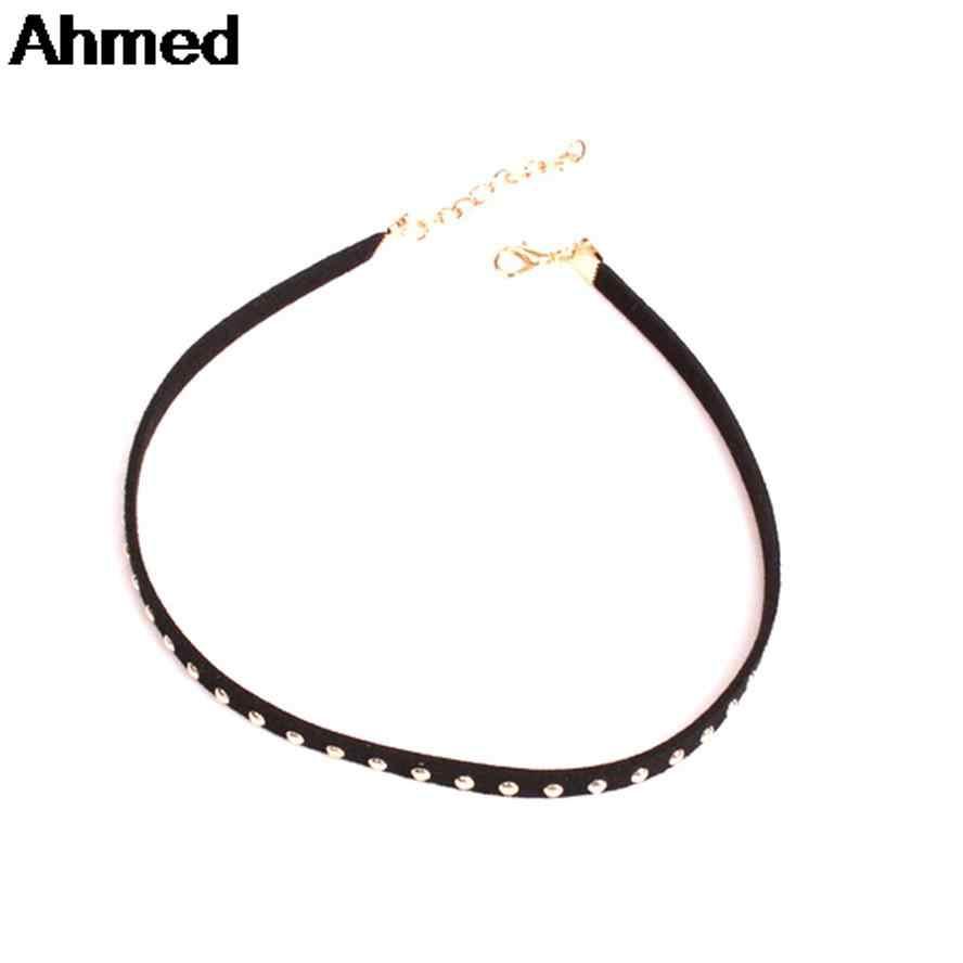 アーメドジュエリーヨーロッパの石の黒革リベットチョーカーネックレス女性ネックレス & ペンダント卸売価格 YN-J71