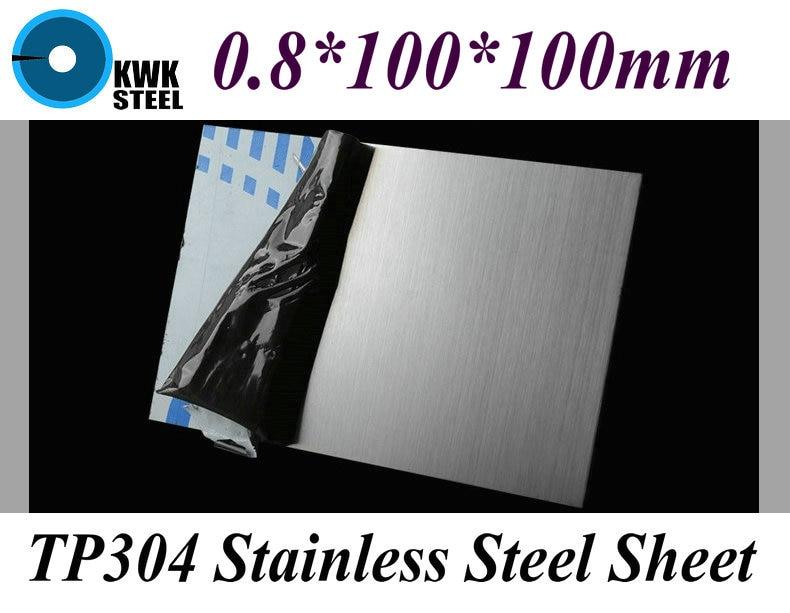 Лист нержавеющей стали TP304 AISI304, 0,8*100*100 мм, пластина из матовой нержавеющей стали, доска, DIY материал, бесплатная доставка