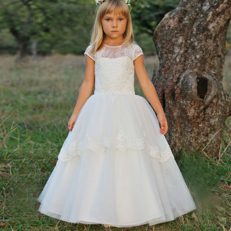 New Spring Pretty Flower Girls Dresses White First Communion Dresses for Girls Lace Mother Daughter Dresses Prom Dress Children white and ivory lace flower girls dresses for wedding a line spring pretty mother daughter dress tulle pageant dresses for girls