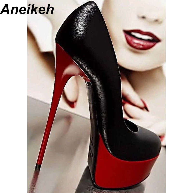 Aneikeh 2018 Spring Women Sexy 16CM Extreme High Heels Platform Ladies Pumps Stiletto Woman Shoes Slip On Size 34 40 258 90
