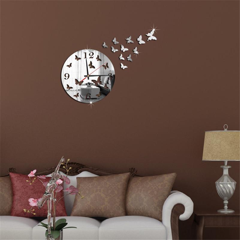 unid espejo saln hogar moderno diseo de la mariposa d diy decoracin del reloj de