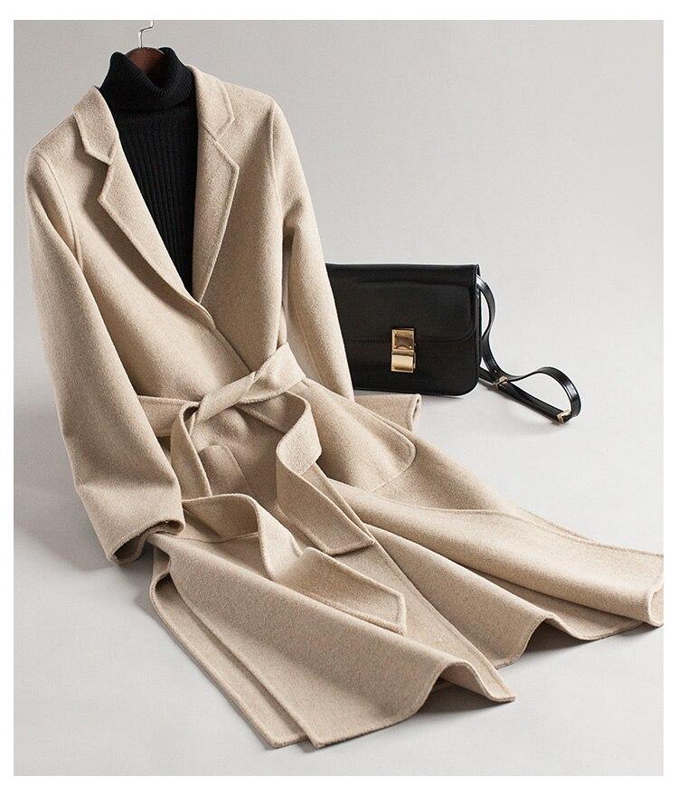 Phụ Nữ Của Cashmere đôi áo Khoác Mùa đông 2018 Len Dài áo Khoác áo