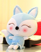 cartoon beauty fox plush toy blue colour fox about 30cm soft doll throw pillow, birthday present Xmas gift c738