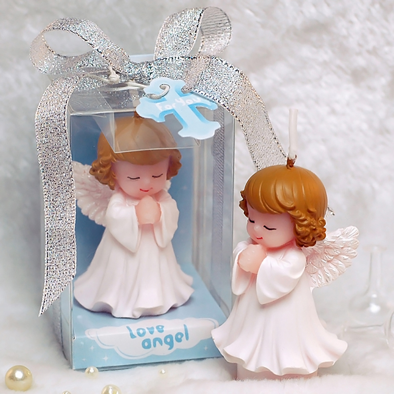 Image 2 - 12 pcs Wedding Favors and Gifts for guests Baby shower Birthday  Party Angel Candles for cake Souvenirs decorations SuppliesParty  Favors