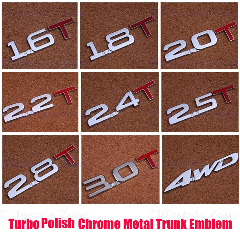 New Bumper Sticker Metal Emblem Decal Turbo TSI Rear Trunk Trim Badge Polish Chrome Red 1.5T 1.6T 1.8T 2.0T 2.2T 2.4T 2.5T 3.0T