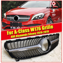 W176 Grille grill Diamonds ABS silvery Without Sign Fits For MercedesMB A Class A180 A200 A220 A250 A45 style front grills 16-18