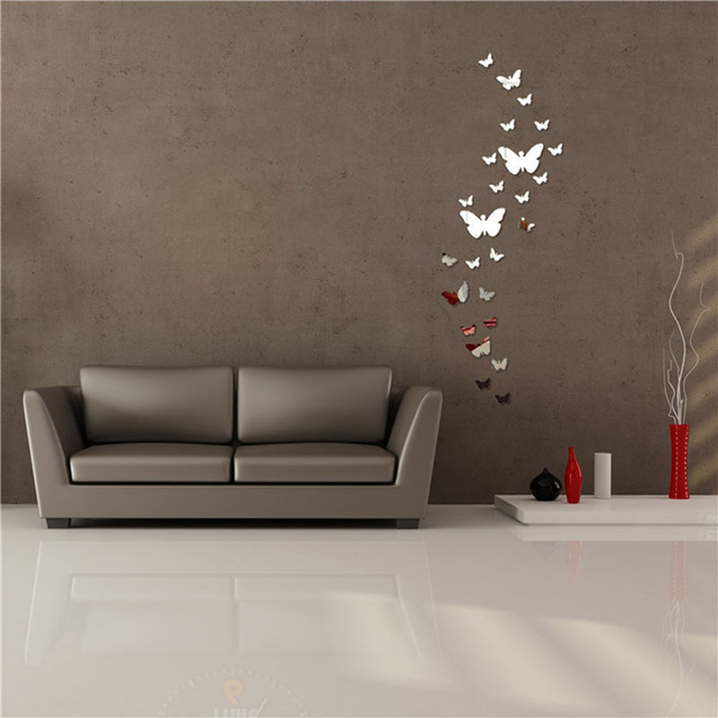 acrylic 3d butterfly design mirror effect wall sticker artistic room decor ly2china mainland - Artistic Wall Design