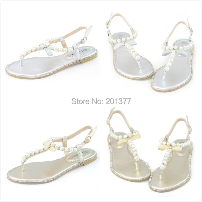 6728fc513294c LARAs silver gold flats sandals summer metallic leather ladies female pearl  diamond sandles beach t bar strap comfy comfort shoe