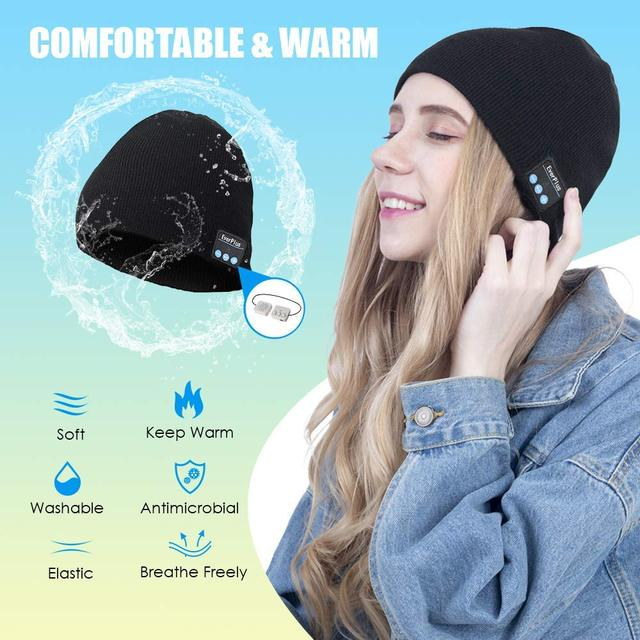 Wireless Bluetooth Beanie Winter Hat,Removable Headphones, Washable ,Fits Outdoor Sports, Skiing,Running, Skating, Walking,gifts