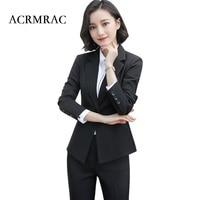 ACRMRAC Women Spring and summer 2018 New Long sleeves Slim black jacket skirt Slim OL Formal Business skirt Suits
