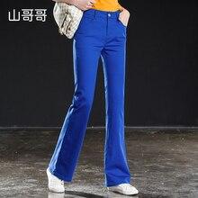 2019 Ladies Blue Denim High Waist Flare Jeans Boyfriend Jeans For Women Skinny Womans Pants Female Wide Leg Mom Jeans Plus Sizes джинсы urban classics ladies boyfriend denim pants ocean blue 29