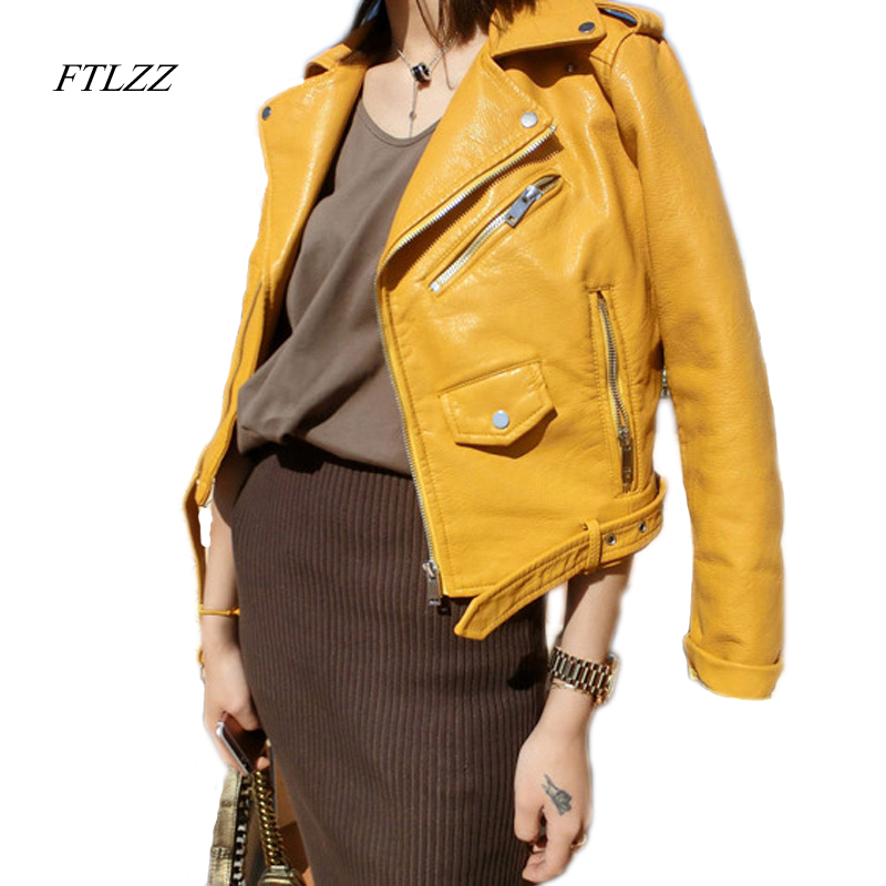 FTLZZ Zipper PU   Leather   Jacket Short Pink Motorcycle Jackets With Belt Classic Basic Spring Women Faux   Leather   Outwear