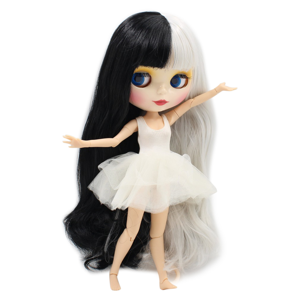 free shipping factory blyth doll 280BL1007 117 Black mix Grey hair with bangs fringes Joint body