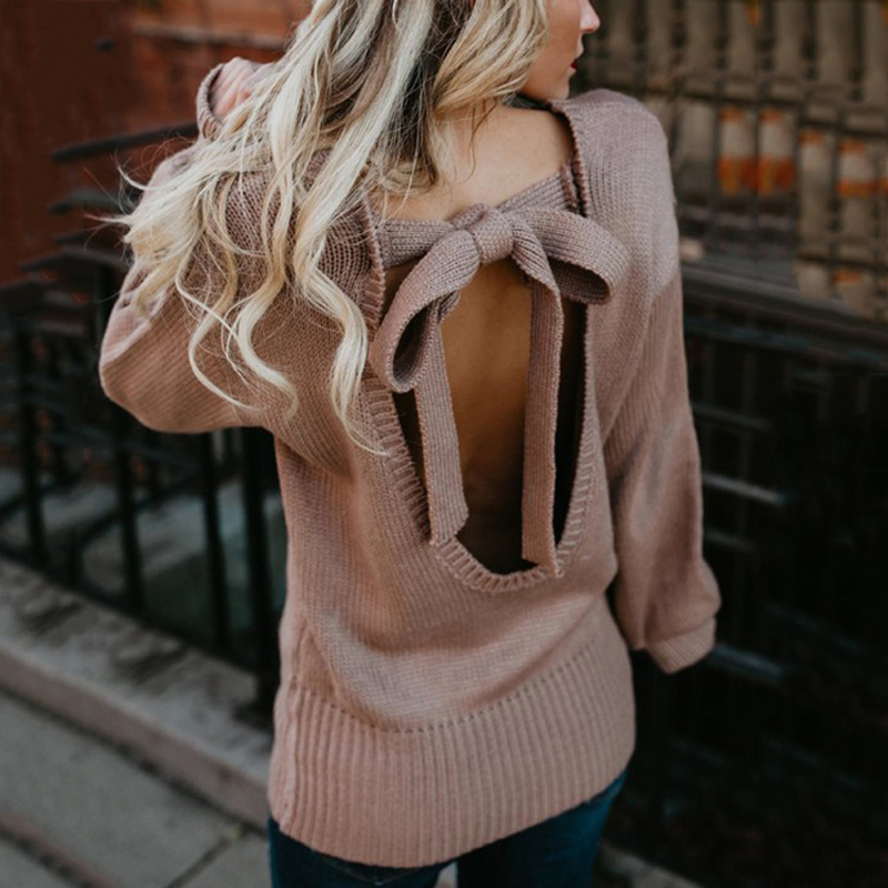 ZADORIN Women Sweaters And Pullovers Solid Lantern Long Sleeve Backless Bandage Sexy Sweater O Neck Knitted Sweater 2019 Fashion