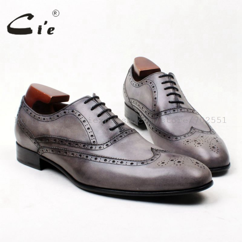 cie Free Shipping Bespoke Handmade Round Toe Calf Leather Outsole Leisure Men's Dress Casual Full Brogues Oxford Grey shoe OX623 bore size 63mm 40mm stroke smc type compact guide pneumatic cylinder air cylinder mgpm series