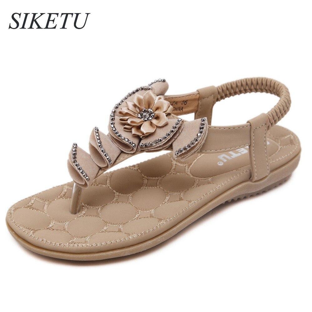 Black mk sandals - Siketu Us5 9 5 New Summer Style Women S Flip Flops Flowers Ladies Soft Sandals Elastic Band Shoes Woman Beige Black Pinks