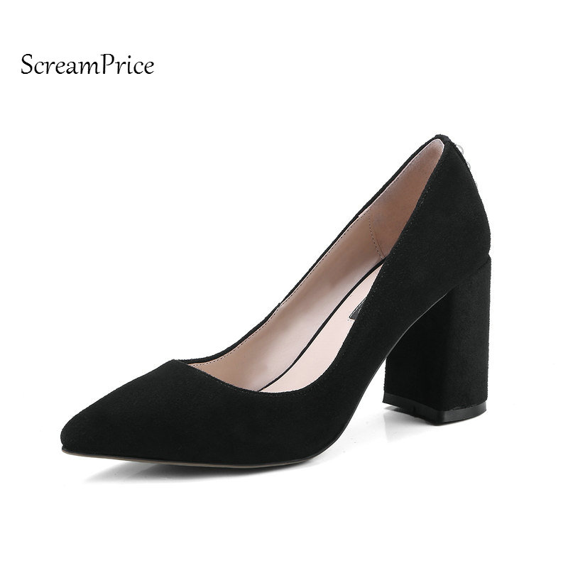 Suede Woman Lazy Pumps Thick High Heel Pointed Toe High Heel Shoes Fashion Shallow Dress Shoes Woman Black Brown Pink newest solid flock high heel pumps woman