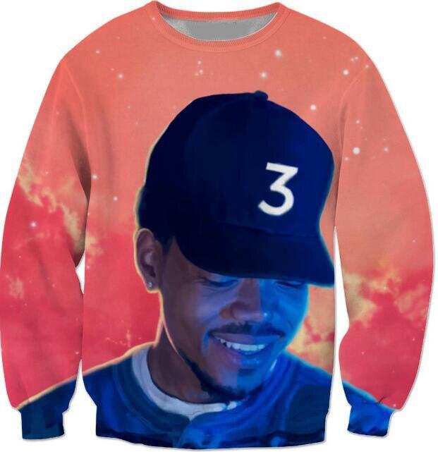 Popular Chance The Rapper 3 Sweatshirt Red Space Crewneck