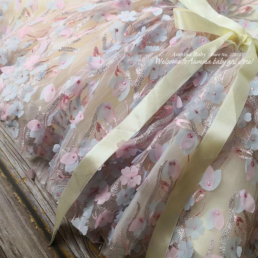 R138 Retail New Flowers Embroidery Costume Tutu Princess Baby Girl Dress Party Wedding Kid Dresses For Girl baby girl clothes