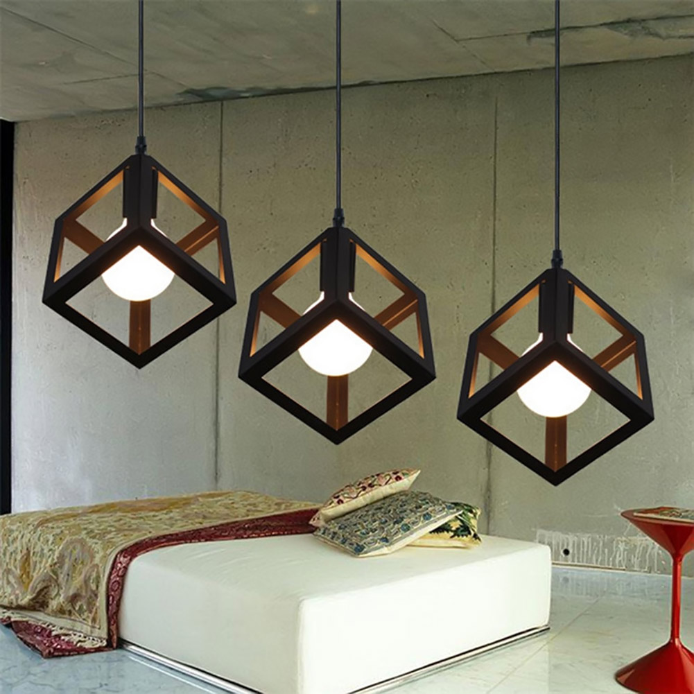 Pendant Lights Modern LED Pendant Lamp Metal Cube Cage Lampshade Lighting Hanging Light Fixture Pendant Lights For Living Room modern wicker pendant light bird cage hand knitting pendant hanging dining room lamp american style for living room lighting