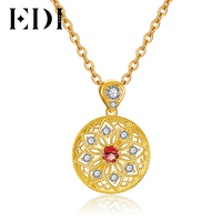 EDI Kadınlar 925 Ayar Gümüş Yuvarlak Güneş Çiçek 5mm Kalın Kolye Kırmızı Garnet Nişan/Düğün Kolye GZP0021-S925