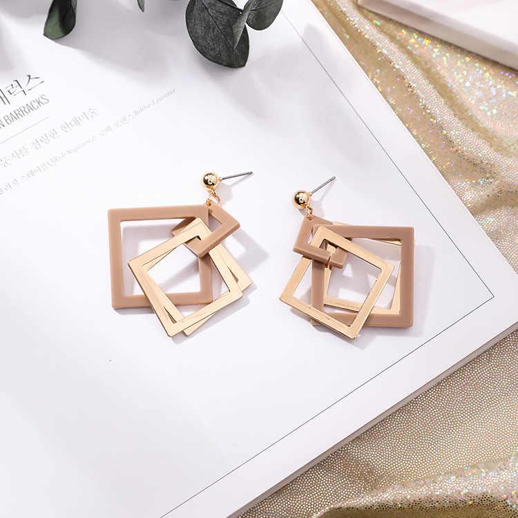 Classic Geometric Acrylic Women Stud Earrings Hollow Geometric Square Acrylic Earrings Fashion Jewelry Womens Accessories