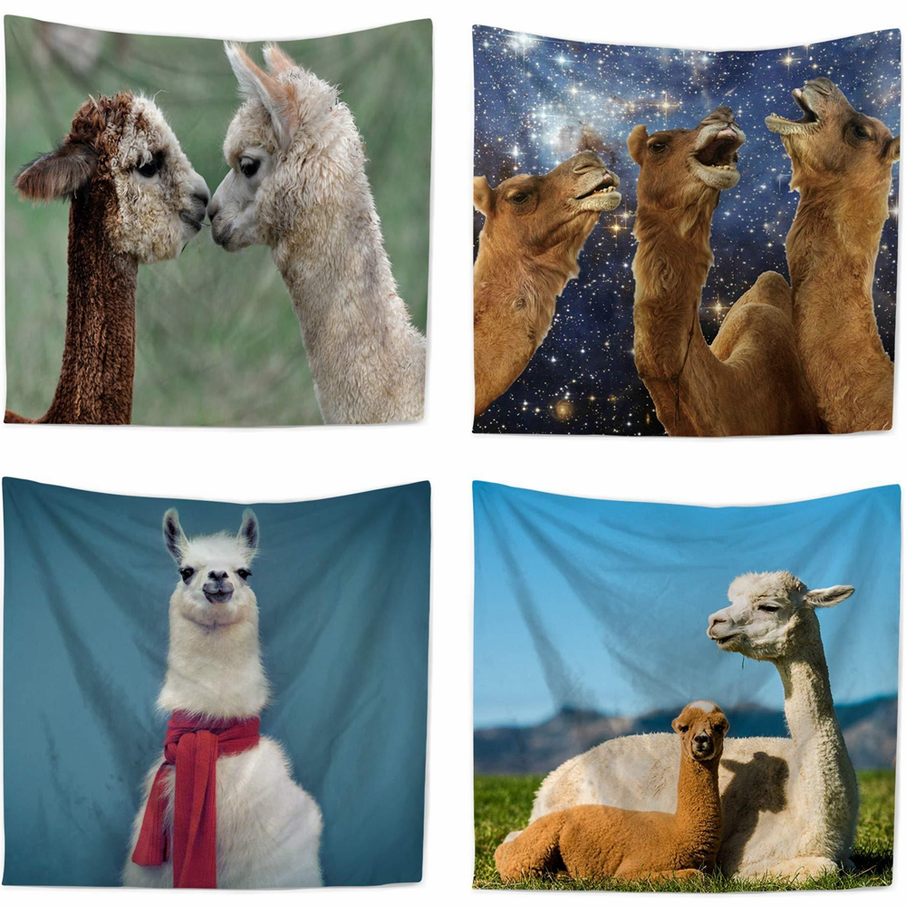 Polyester Alpaca Printing Tapestry Wall Hanging Blanket Camping Mattress Tablecloth Sleeping Pad Beach towel Sunscreen shawl