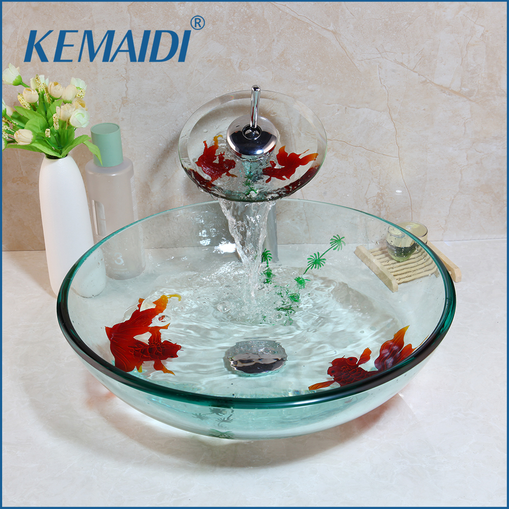 KEMAIDI Tempered Glass Hand Painted Waterfall Spout Basin Black Tap Bathroom Sink Washbasin Bath Brass Set Faucet Mixer TapsKEMAIDI Tempered Glass Hand Painted Waterfall Spout Basin Black Tap Bathroom Sink Washbasin Bath Brass Set Faucet Mixer Taps